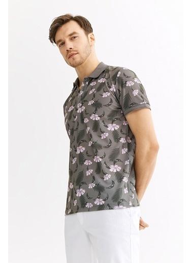 Avva Erkek  Polo Yakalı Baskılı Tişört A01Y1015 Haki